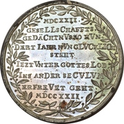 Medal - 100th anniversary of the wednesday-shooting-society (Mitwochsschiess-Gesellschaft; Nürnberg) – revers