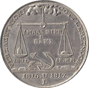 Medal at the 1816/1817 famine – revers
