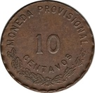 10 Centavos (Provisional Government) – revers
