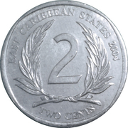 2 cents Elizabeth II (4e effigie, 1er type) – revers