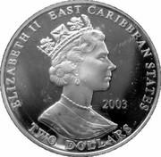 2 Dollars Elizabeth II (Sir Francis Drake) – avers
