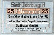 25 Pfennig (Oldenburg in Holstein) – avers
