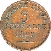 3 Pfennige - Paul Friedrich August – revers