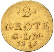 2 grote Peter Friedrich Ludwig (Frappe essai en or) – revers