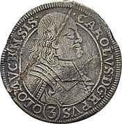 3 kreuzer Karl II von Liechtenstein-Kastelkorn – avers