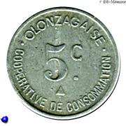5 centimes - coopérative de consommation Olonzagaise Olonzac [34] – revers