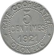 5 centimes cave coopérative d'Olonzac [34] – avers