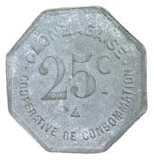 25 centimes - coopérative de consommation Olonzagaise - Olonzac [34] – revers