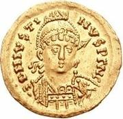 1 solidus Athalaric / Au nom de Justin I, 518-527 (étoile à gauche) – avers