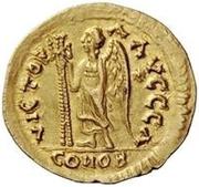 1 solidus Athalaric / Au nom de Justin I, 518-527 (étoile à droite) – revers