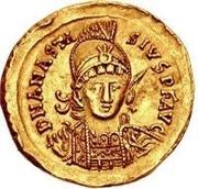 1 solidus Théodoric / Au nom d'Anastase I, 491-518 (inscription revers se terminant par monogramme) – avers