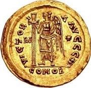 1 solidus Théodoric / Au nom d'Anastase I, 491-518 (inscription revers se terminant par monogramme) – revers