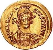 1 solidus Théodoric / Au nom d'Anastase I, 491-518 (inscription revers se terminant par une lettre) – avers