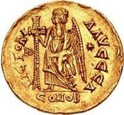 1 solidus Théodoric / Au nom d'Anastase I, 491-518 (inscription revers se terminant par une lettre) – revers