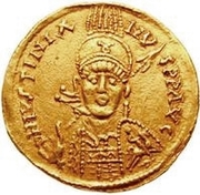 1 solidus Vitigès / Au nom de Justinien I, 527-565 (étoile à droite) – avers