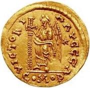 1 solidus Vitigès / Au nom de Justinien I, 527-565 (étoile à droite) – revers
