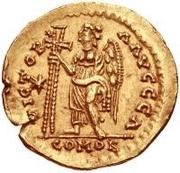 1 solidus Anonyme / Au nom de Justinien I, 527-565 (étoile à gauche) – revers