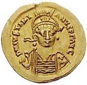 1 solidus Vitigès / Au nom de Justinien I, 527-565 (étoile à gauche) – avers