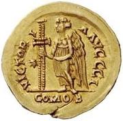 1 solidus Vitigès / Au nom de Justinien I, 527-565 (étoile à gauche) – revers