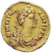 1 tremissis Vitigès / Au nom de Justinien I, 527-565 (Ravenne) – avers