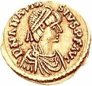 1 tremissis Théodoric / Au nom d'Anastase I, 491-518 (deux étoiles; Rome) – avers