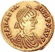 1 tremissis Théodoric / Au nom d'Anastase I, 491-518 (une étoile droite; Rome) – avers