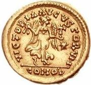 1 tremissis Théodoric / Au nom d'Anastase I, 491-518 (une étoile droite; Rome) – revers