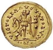 1 tremissis Baduila / Au nom d'Anastase I, 491-518 (Ticinum) – revers