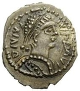 ¼ silique Hildebad / Au nom de Justinien I, 527-565 (Rome) – avers