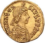 1 tremissis Théodoric / Au nom d'Anastase I, 491-518 (une étoile gauche; Mediolanum/Milan) – avers