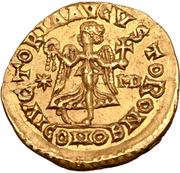 1 tremissis Théodoric / Au nom d'Anastase I, 491-518 (une étoile gauche; Mediolanum/Milan) – revers