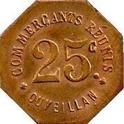 25 Centimes- Commerçants réunis - Ouveillan [11] – avers