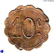 10 Centimes - Commerçants réunis - Ouveillan [11] – revers