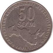50 Soʻm (Indépendance; type léger) – revers