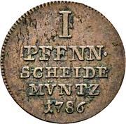 1 pfennig Friedrich Wilhelm von Westphalen – revers