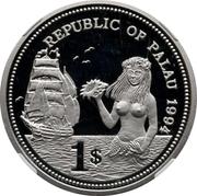 1 Dollar (Fish and Coral - Palladium Essai) – avers