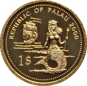 1 Dollar (Lion & Parrotfish; Gold Proof Issue) – avers