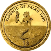 1 Dollar (Sea Turtle; Gold Proof Issue) – avers