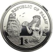 1 Dollar (Fish and Coral - Platinum Essai) – avers