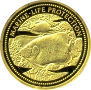 1 Dollar (Blue Gilled Angelfish & Butterfly-Fish; Gold Proof Issue) – revers