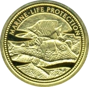 1 Dollar (Pufferfish; Gold Proof Issue) – revers