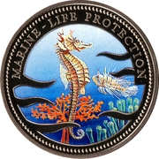 1 dollar - Multicolor sea horse and lion fish – revers