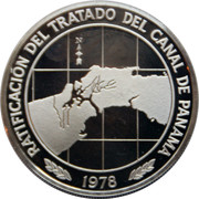 10 balboas (Ratification du Traité du Canal de Panama ; argent) – revers