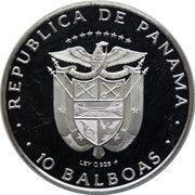 10 balboas (Ratification du Traité du Canal de Panama ; argent) – avers