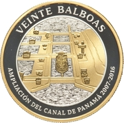20 Balboas (Extension  of the Canal) – revers