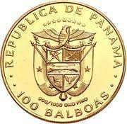 100 balboas (Art précolombien tortue dorée) – avers