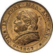 1 soldo / 5 centesimi - Pius IX – avers