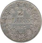 2 lire - Pius IX – revers