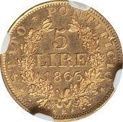 5 lire - Pius IX – revers
