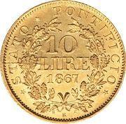 10 lire - Pius IX – revers